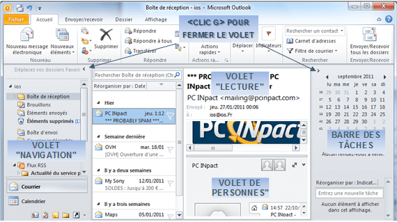 taille affichage outlook