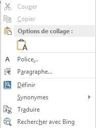 menu contextuel word 2013